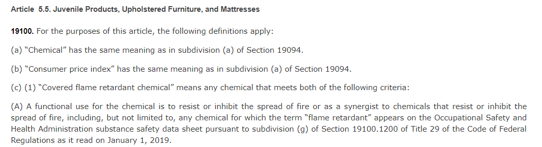 California Passes Flame Retardant Bill on Juvenile Products